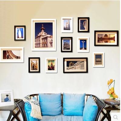 实木照片墙相框墙 客厅创意挂墙相框组合相片墙 欧式